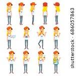 set of teenage girl in... | Shutterstock .eps vector #686057863