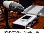 white studio recording... | Shutterstock . vector #686072107