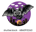 bat night blood sucking bats | Shutterstock .eps vector #686093263