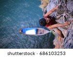 climbing in thailand  rock... | Shutterstock . vector #686103253