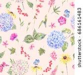 summer watercolor vintage... | Shutterstock . vector #686161483