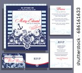 wedding invitation card with... | Shutterstock .eps vector #686161633