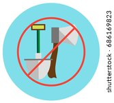 icons of an ax and a shovel... | Shutterstock . vector #686169823