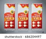 roll up sale banner design... | Shutterstock .eps vector #686204497