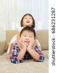 asian kids having fun at home | Shutterstock . vector #686231287