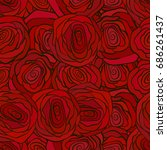 red roses seamless pattern for... | Shutterstock . vector #686261437