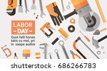 labor day holiday greeting card ... | Shutterstock .eps vector #686266783