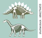 dinosaurs skeletons silhouettes ... | Shutterstock .eps vector #686276653