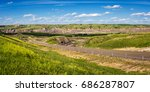 Panorama of  canadian badlands and road to Drumheller, Alberta.