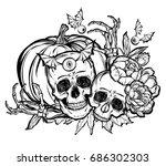 halloween. vector illustration. ... | Shutterstock .eps vector #686302303