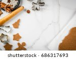 christmas baking. ginger dough... | Shutterstock . vector #686317693