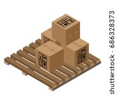 a wooden pallet with several... | Shutterstock .eps vector #686328373