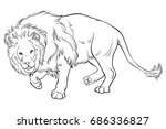 adult coloring book page a lion.... | Shutterstock .eps vector #686336827