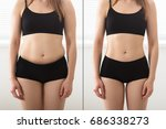 close up of fat and slim woman... | Shutterstock . vector #686338273