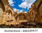 the interior of ruined church... | Shutterstock . vector #686339977