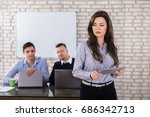 young businesswoman holding... | Shutterstock . vector #686342713