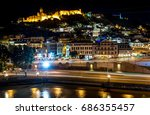 night view of narikala fortress ... | Shutterstock . vector #686355457