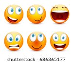 smiley with blue eyes emoticon... | Shutterstock .eps vector #686365177