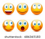 smiley with blue eyes emoticon... | Shutterstock .eps vector #686365183