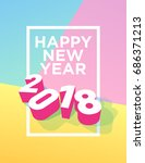 happy new year 2018 postcard... | Shutterstock .eps vector #686371213