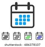 calendar month flat vector... | Shutterstock .eps vector #686378107