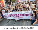women protesters rally in... | Shutterstock . vector #686406403