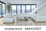 modern bright living room ...   Shutterstock . vector #686410507