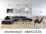 modern bright living room ... | Shutterstock . vector #686412133