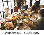 thanksgiving celebration... | Shutterstock . vector #686416087