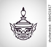 vector face of giant thailand ... | Shutterstock .eps vector #686421817