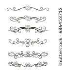 vector image. a set of curls... | Shutterstock .eps vector #686453713