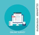 online survey form on desktop... | Shutterstock .eps vector #686469733
