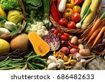 abundance of organic vegetables ... | Shutterstock . vector #686482633