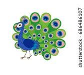 cute peacock cartoon | Shutterstock .eps vector #686486107