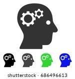 intellect gears flat vector... | Shutterstock .eps vector #686496613