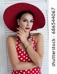 beautiful sexy brunette girl... | Shutterstock . vector #686544067