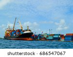 port with ship and containers | Shutterstock . vector #686547067