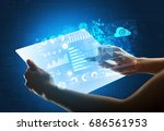 young female hand holding a...   Shutterstock . vector #686561953