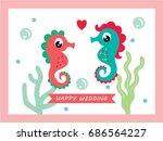 cute seahorse couple happy...   Shutterstock .eps vector #686564227