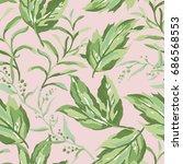 greenery seamless pattern.... | Shutterstock .eps vector #686568553