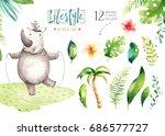 hand drawn watercolor... | Shutterstock . vector #686577727
