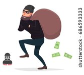 thief sneaking with a money bag | Shutterstock .eps vector #686593333
