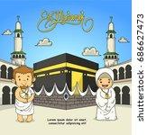 eid adha mubarak. people in...   Shutterstock .eps vector #686627473