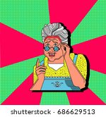 grandmother gesture.granny old... | Shutterstock .eps vector #686629513