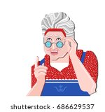 grandmother gesture. granny old ... | Shutterstock .eps vector #686629537