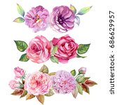 set of flowers bouquets... | Shutterstock . vector #686629957