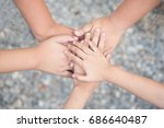 close up of many hands in... | Shutterstock . vector #686640487