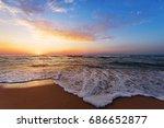 golden sunrise sunset over the...   Shutterstock . vector #686652877