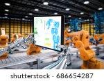 3d rendering robot hand working ... | Shutterstock . vector #686654287