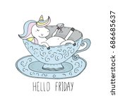 Hello Friday Card. Cute Unicor...